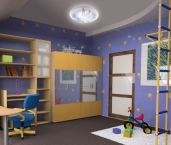 childroom modern design in loft apartment (3D image)