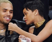 Rihanna and Chris Brown at Lakers v Knicks game at the Staples C
